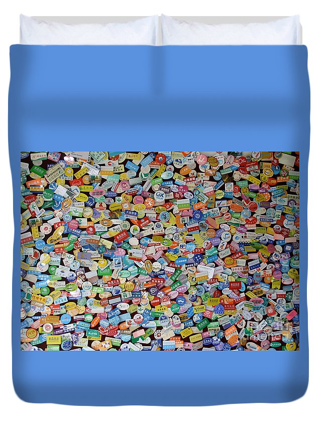 China Duvet Cover featuring the photograph Tour Group Stickers Say We Were Here. by Barbie Corbett-Newmin