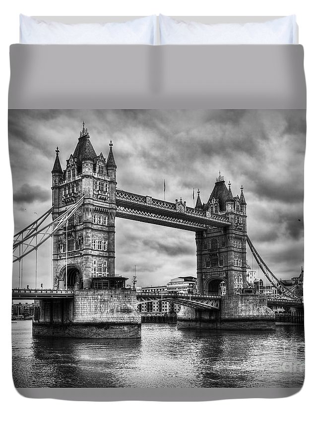 Tower Duvet Cover featuring the photograph Tower Bridge In London Uk Black And White by Michal Bednarek