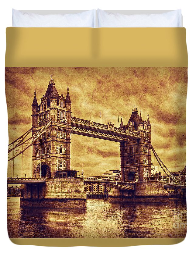 Tower Duvet Cover featuring the photograph Tower Bridge In London Uk Vintage Style by Michal Bednarek