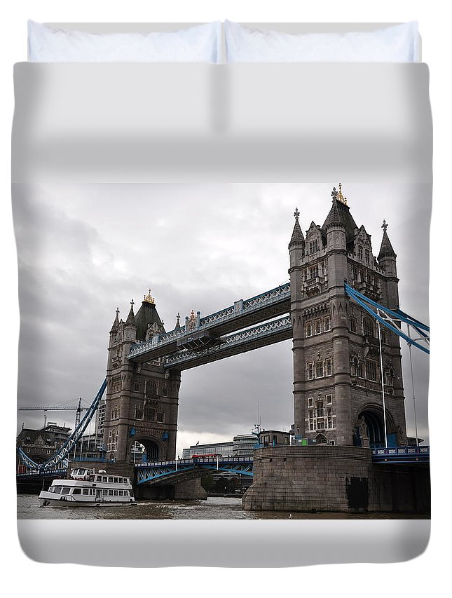 Tower Bridge Duvet Cover featuring the photograph Tower Bridge London by Laura Lowrey