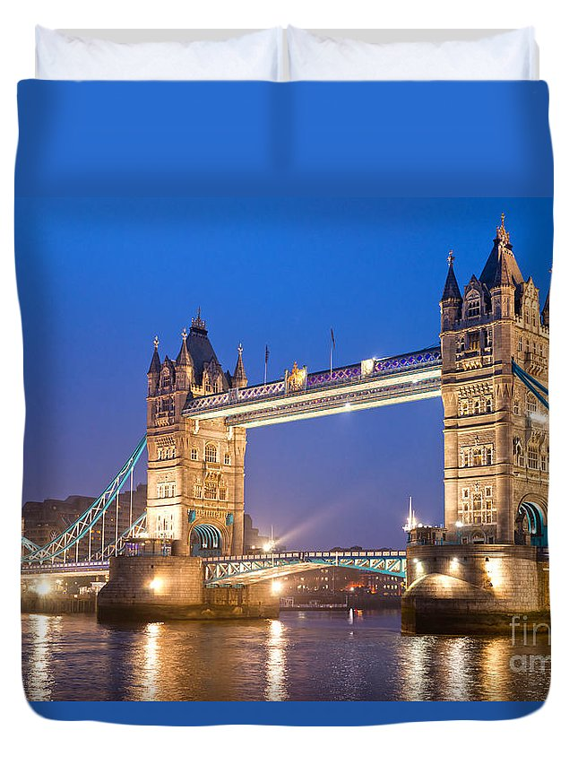 Architecture Duvet Cover featuring the photograph Tower Bridge by Luciano Mortula