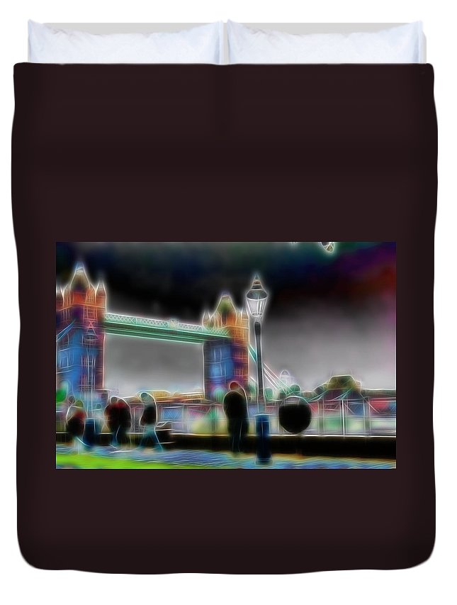 Tower Bridge London Surrealism Abstract Painting Color Colorful Duvet Cover featuring the painting Tower Bridge Surrealism by Steve K