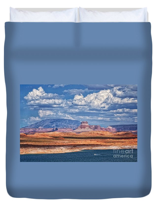 Lake Powell Duvet Cover featuring the photograph Tower Butte by Claudia Kuhn