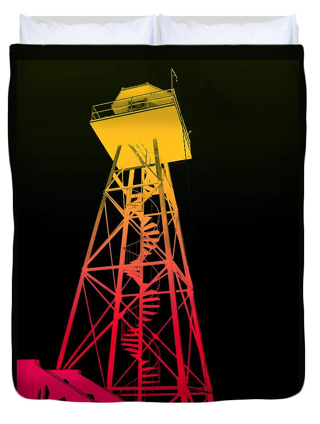 san Francisco Duvet Cover featuring the photograph Tower Duty Alcatraz by Daniel Hagerman