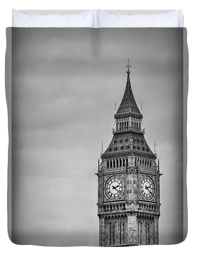 Big Ben Duvet Cover featuring the photograph Tower Of Power by Evelina Kremsdorf