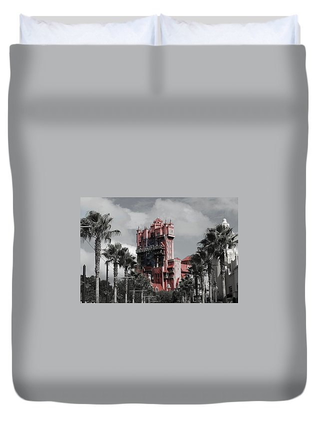 Architecture Duvet Cover featuring the mixed media Tower Of Terror In Color by Eric Liller