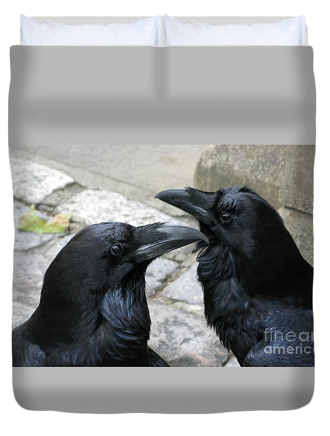 Raven Duvet Cover featuring the photograph Tower Ravens by Ann Horn