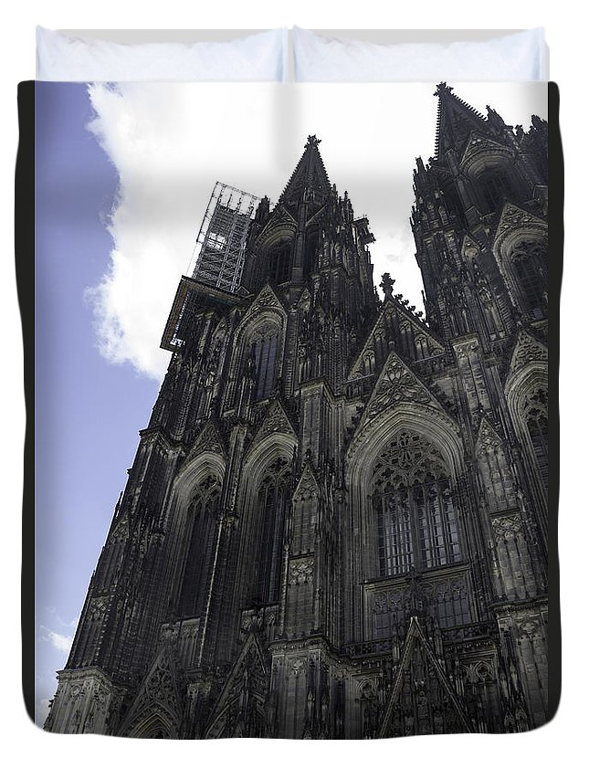 Cologne Cathedral Duvet Cover featuring the photograph Tower Scaffolding Cologne Cathedral by Teresa Mucha