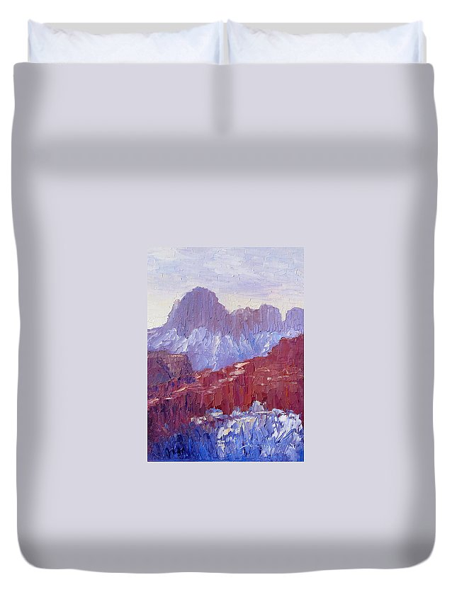 Zion National Park Duvet Cover featuring the painting Towers Of The Virgin Valley by Terry Chacon