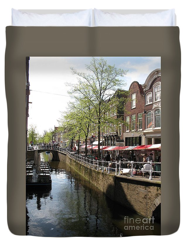 Town Canal Duvet Cover featuring the photograph Town Canal - Delft by Christiane Schulze Art And Photography