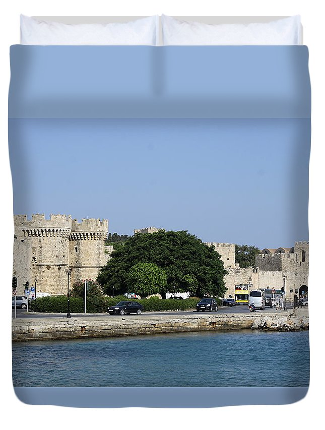 Town Wall Duvet Cover featuring the photograph Town Wall - Rhodos City by Christiane Schulze Art And Photography