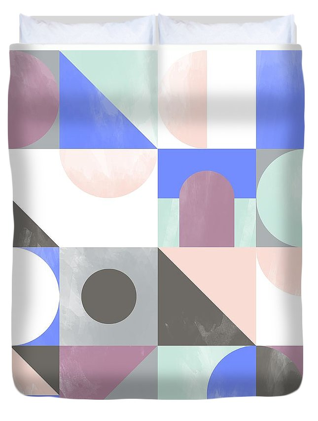 Pattern Duvet Cover featuring the painting Toy Blocks by Laurence Lavallee