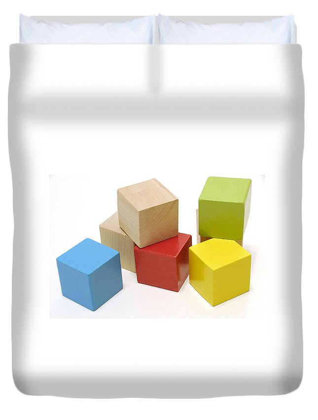 Block Duvet Cover featuring the photograph Toy Building Blocks by Charles Beeler