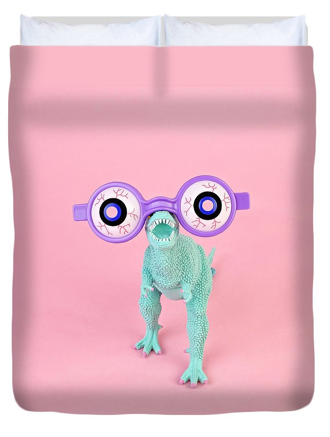 Purple Duvet Cover featuring the photograph Toy Dinosaur With Spooky Glasses by Juj Winn