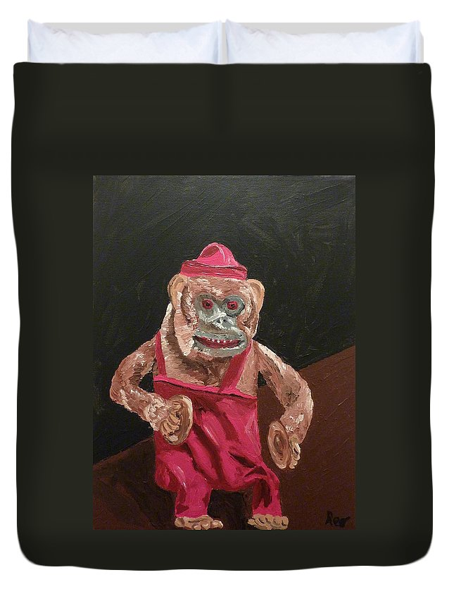 Monkey Duvet Cover featuring the painting Toy Monkey With Cymbals by Joshua Redman
