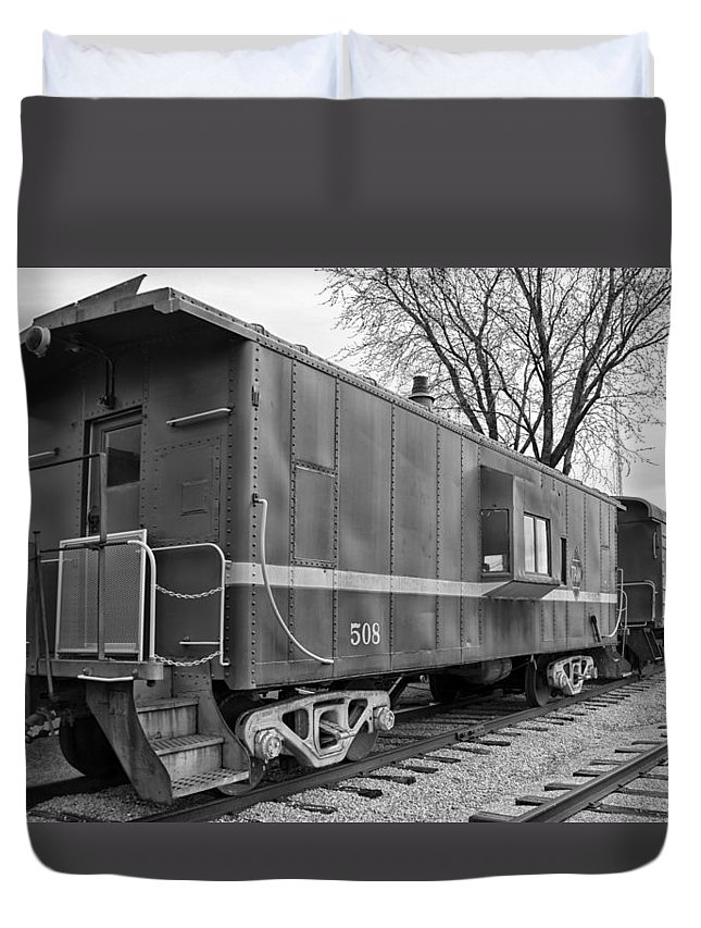 Tpw Duvet Cover featuring the photograph Tpw Rr Caboose Black And White by Thomas Woolworth