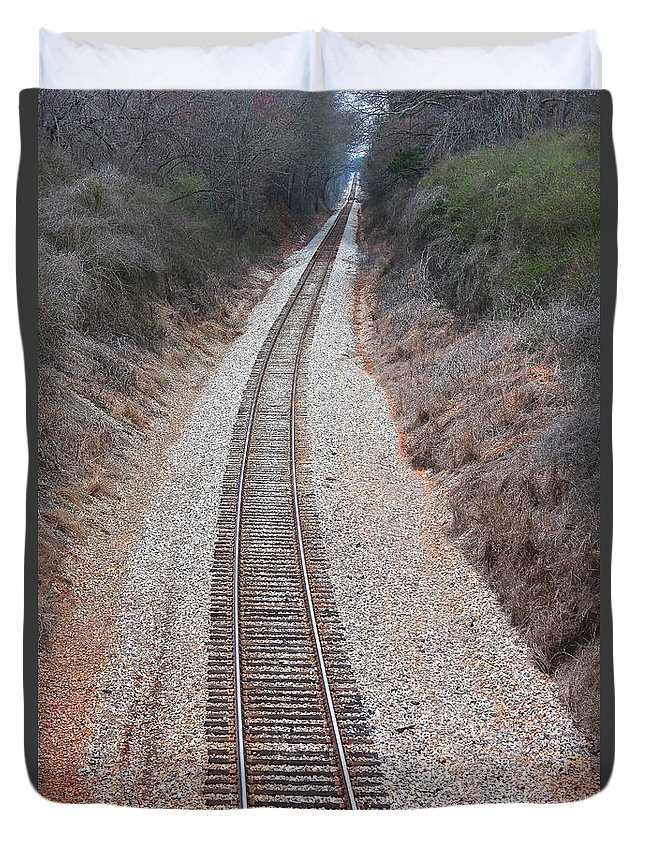 Reid Callaway Train And Track Duvet Cover featuring the photograph Track 3 by Reid Callaway