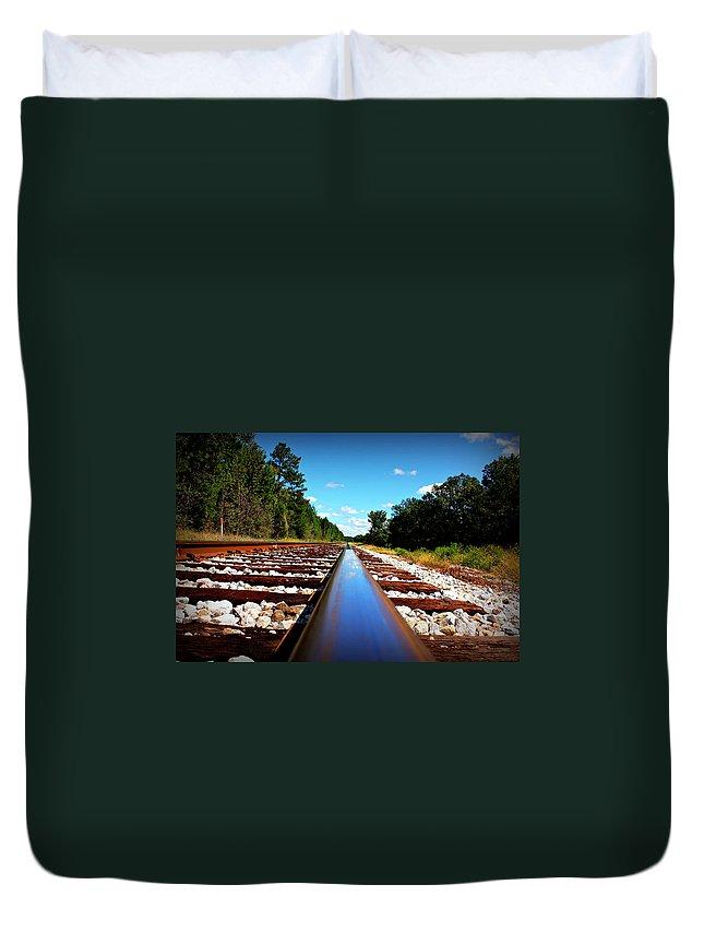 Reid Callaway Train Duvet Cover featuring the photograph Track Star by Reid Callaway
