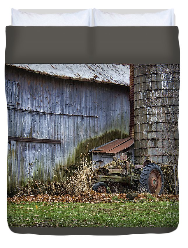 Tractor Duvet Cover featuring the photograph Tractor And Barn On Cloudy Day by David Arment