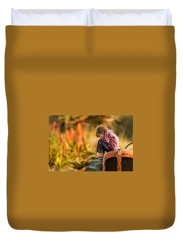 Africa Duvet Cover featuring the photograph Tractor Boy by Alistair Lyne