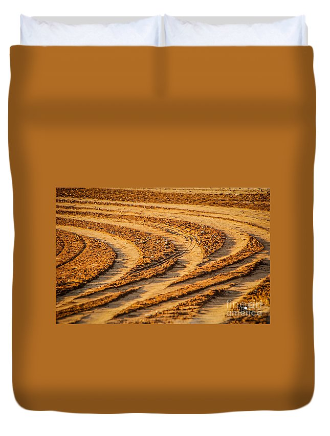 Tractor Tracks Duvet Cover featuring the photograph Tractor Tracks by Grace Grogan
