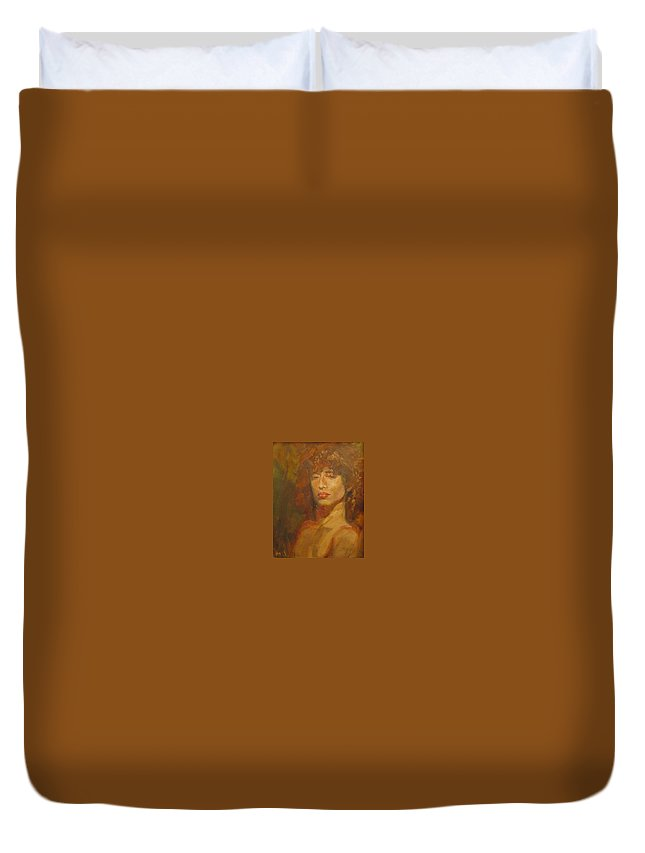 Portrait Duvet Cover featuring the painting Tracy by Irena Jablonski