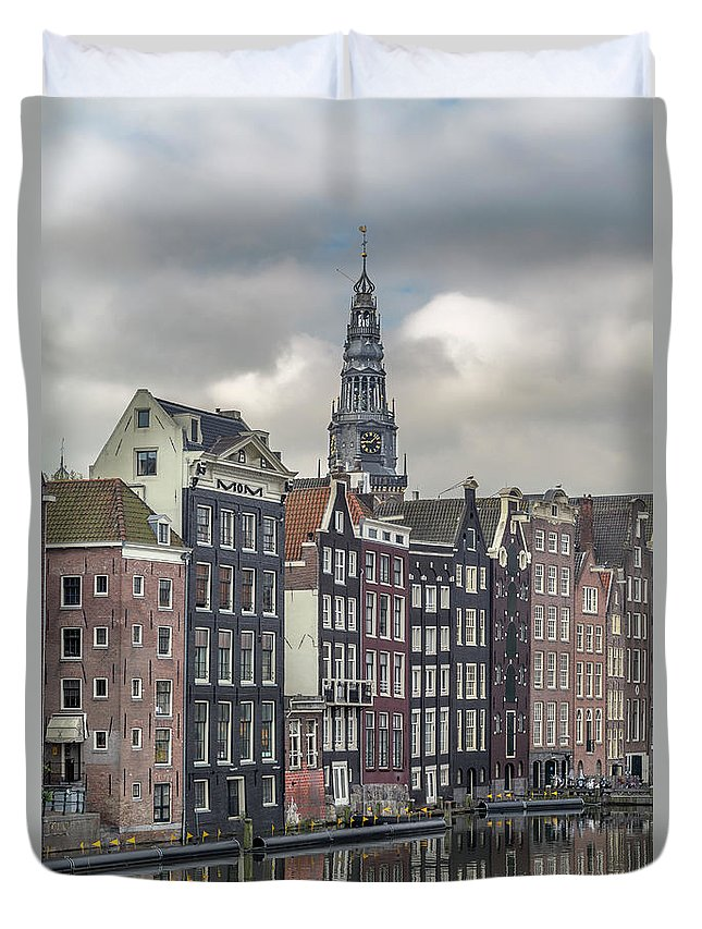 In A Row Duvet Cover featuring the photograph Traditional Dutch Houses Over A Canal by Buena Vista Images