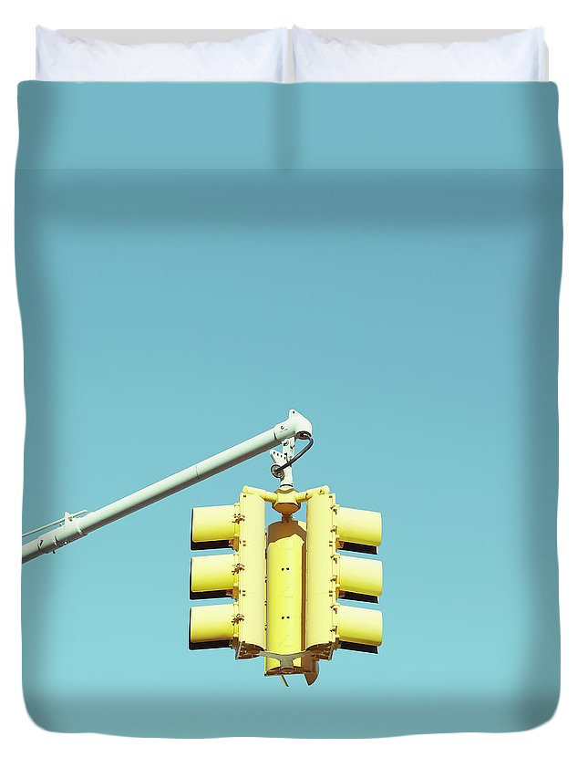 Clear Sky Duvet Cover featuring the photograph Traffic Light by Justinwaldingerphotography