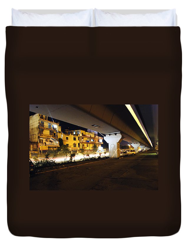 Cars Duvet Cover featuring the photograph Traffic Running Beneath Flyover by Sumit Mehndiratta