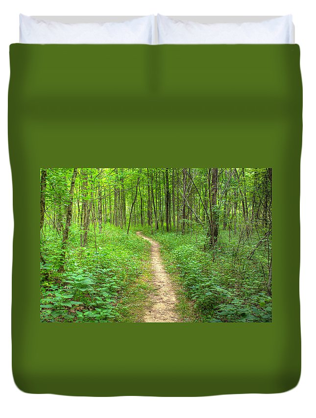 Forest Duvet Cover featuring the photograph Trail by Alexey Stiop