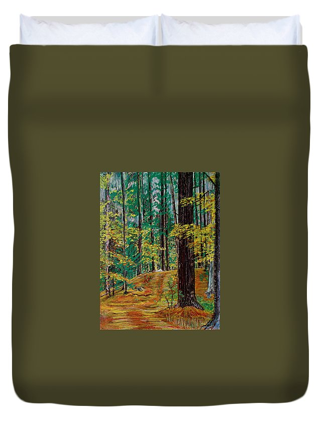 New Hampshire Duvet Cover featuring the pastel Trail At Wason Pond by Sean Connolly