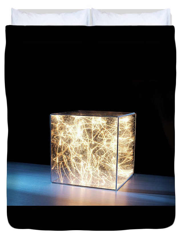 Block Shape Duvet Cover featuring the photograph Trail Of Bright Light In Box by Pm Images