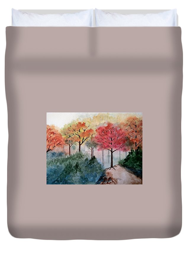 Landscape Duvet Cover featuring the painting Trail's End by B Kathleen Fannin