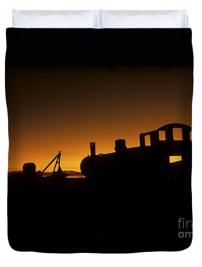 Train Duvet Cover featuring the photograph Uyuni Train Cemetery Sunset Bolivia by James Brunker