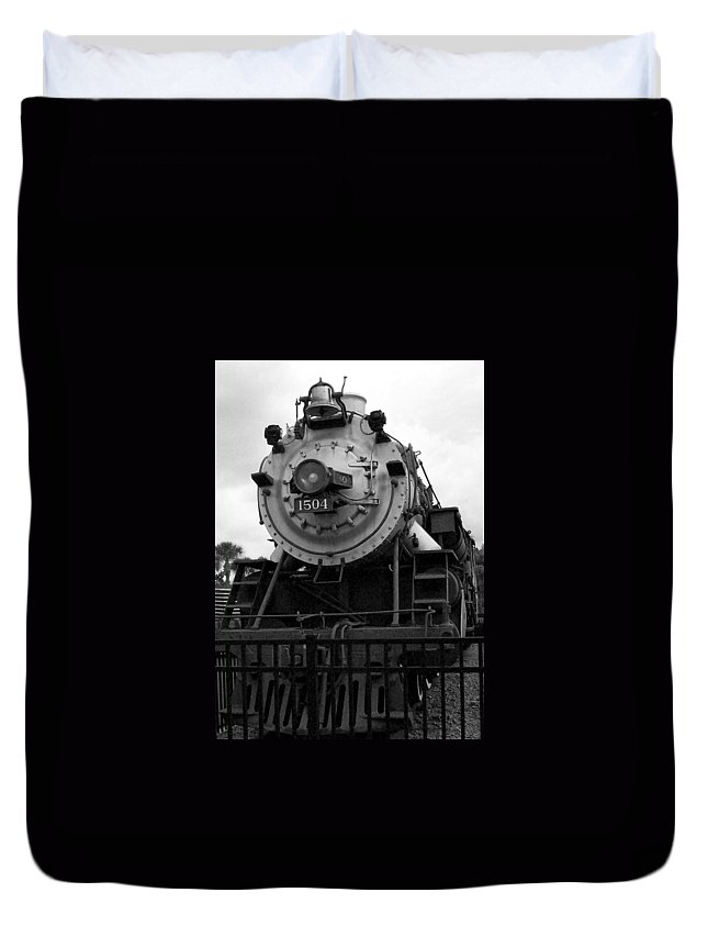 Train Duvet Cover featuring the photograph Train Engine by Evelyn Hill