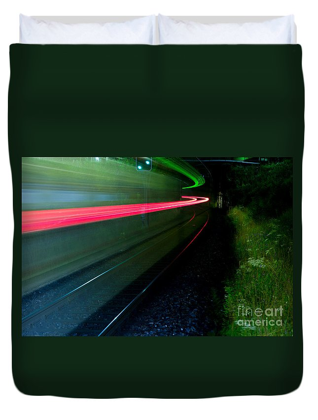 Train Duvet Cover featuring the photograph Train Pass By by Mats Silvan