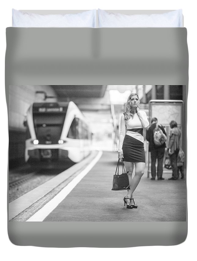 Ralf Duvet Cover featuring the photograph Train Station - Waiting by Ralf Kaiser