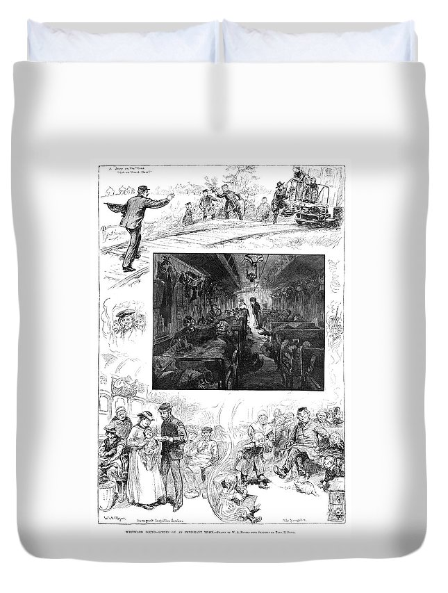 1883 Duvet Cover featuring the drawing Train Travel, 1883 by Granger