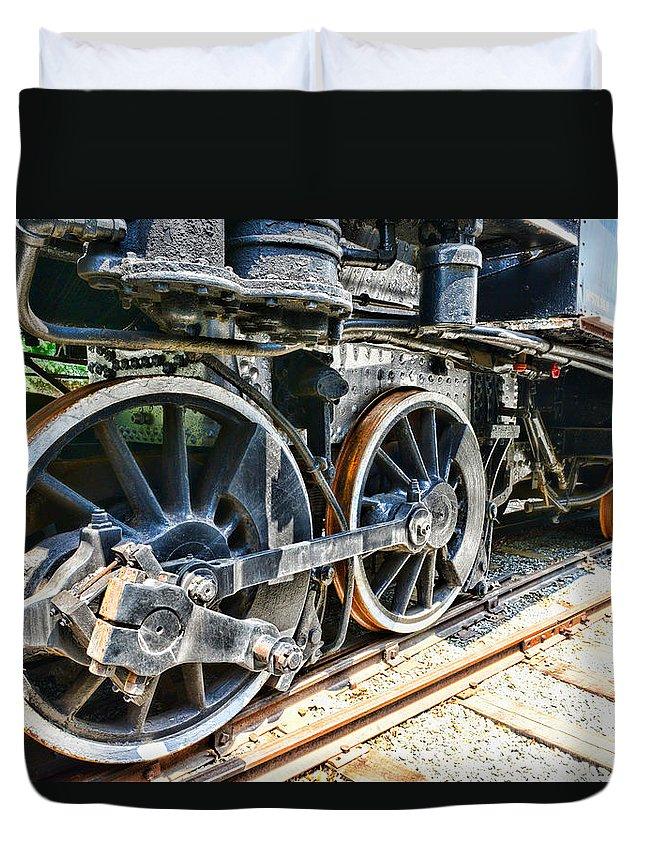 Train Duvet Cover featuring the photograph Train Wheels by Paul Ward