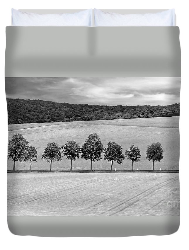 Tuscany Duvet Cover featuring the photograph Train With A View Bw by Jennie Breeze