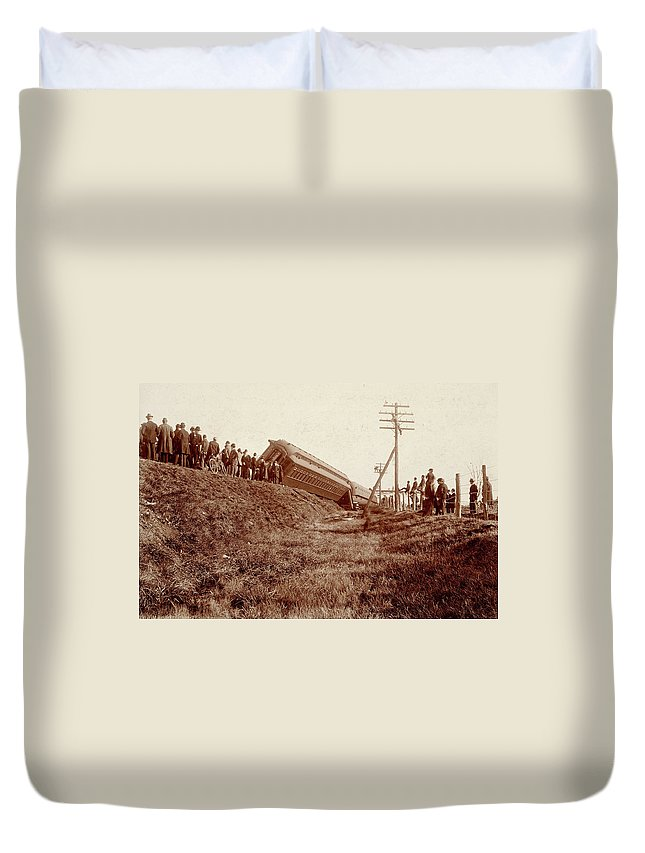 1890 Duvet Cover featuring the photograph Train Wreck, C1900 by Granger