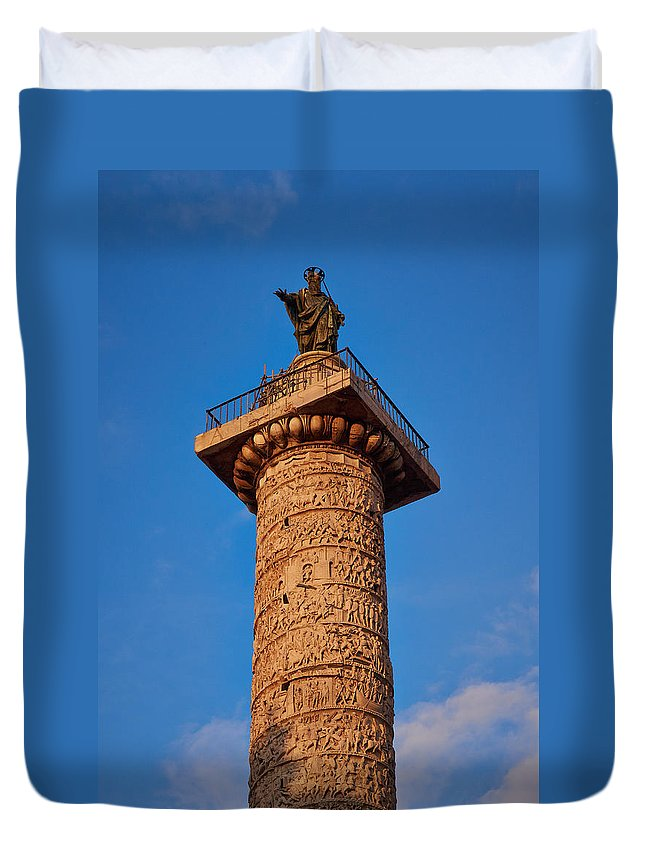 Lehto Duvet Cover featuring the photograph Trajans Column by Jouko Lehto