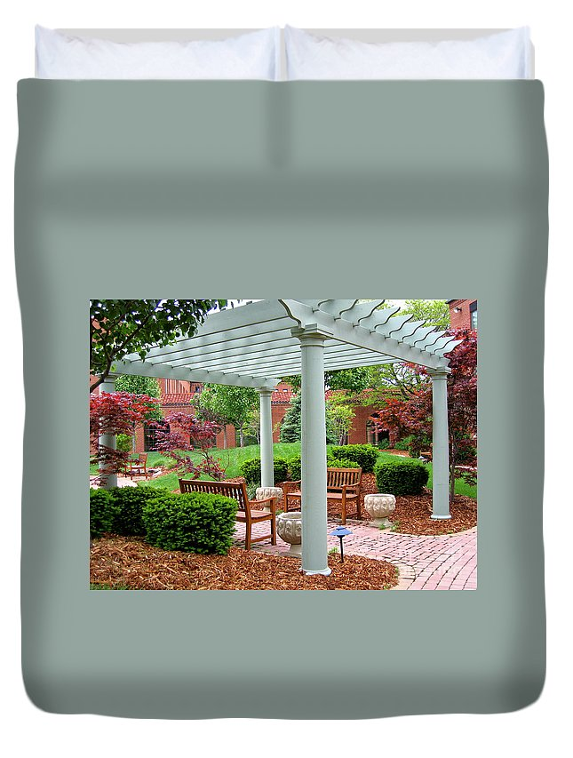 Courtyard Duvet Cover featuring the photograph Tranquil Courtyard by Ann Horn