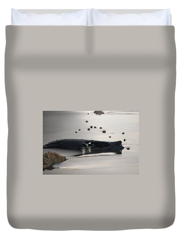 Log And Water Duvet Cover featuring the photograph Tranquil Moments by Katherine Townsend