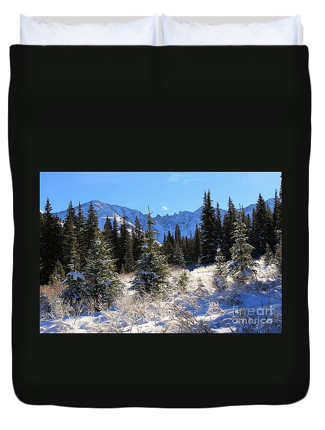 Nature Duvet Cover featuring the photograph Tranquil Mountain Scene by Tonya Hance