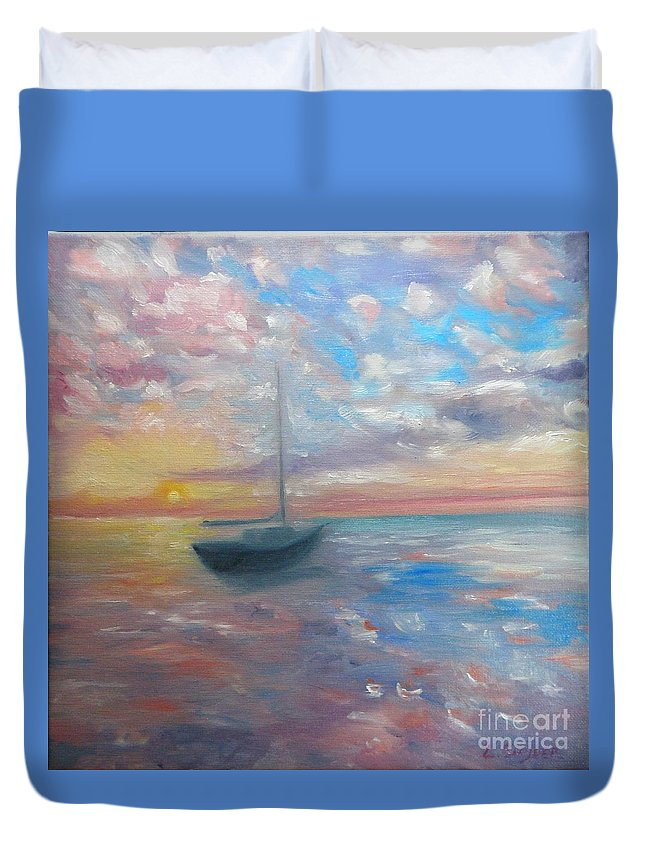 Oil Painting Duvet Cover featuring the painting Tranquil Ocean Sunset by Liz Snyder