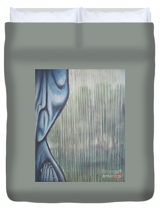 Tmad Duvet Cover featuring the painting Tranquil Rain by Michael TMAD Finney