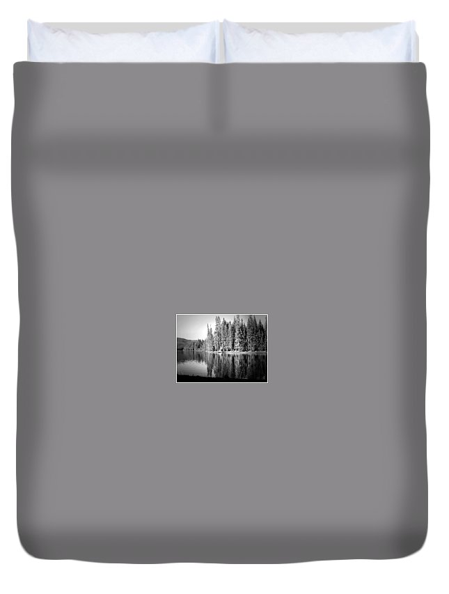 Lake Duvet Cover featuring the photograph Tranquil Reflection In B And W by Joyce Dickens
