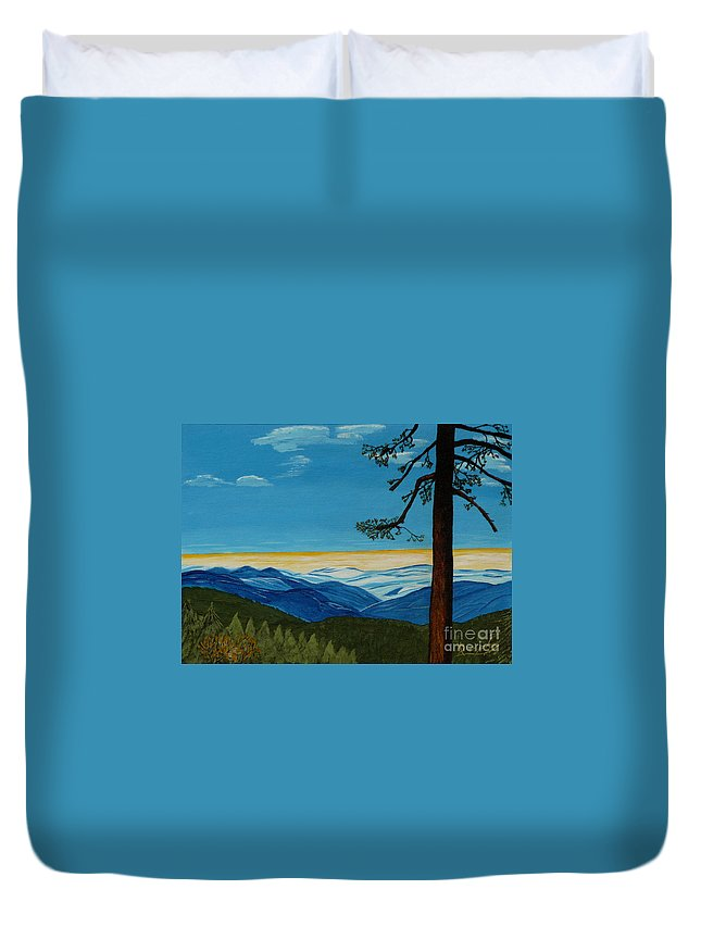 Mountain Duvet Cover featuring the painting Tranquil Solitude by Anthony Dunphy