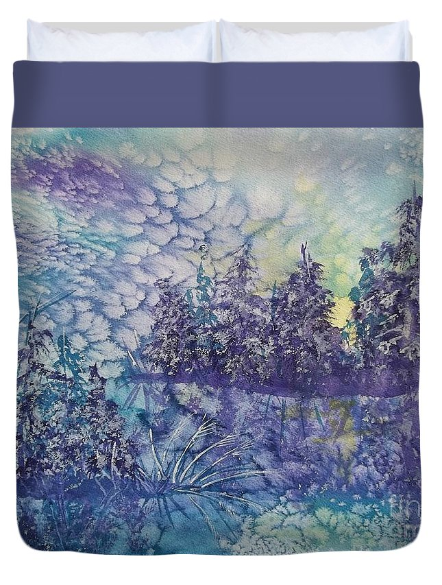 Frosty Winter Mornin Duvet Cover featuring the painting Tranquility by Ellen Levinson
